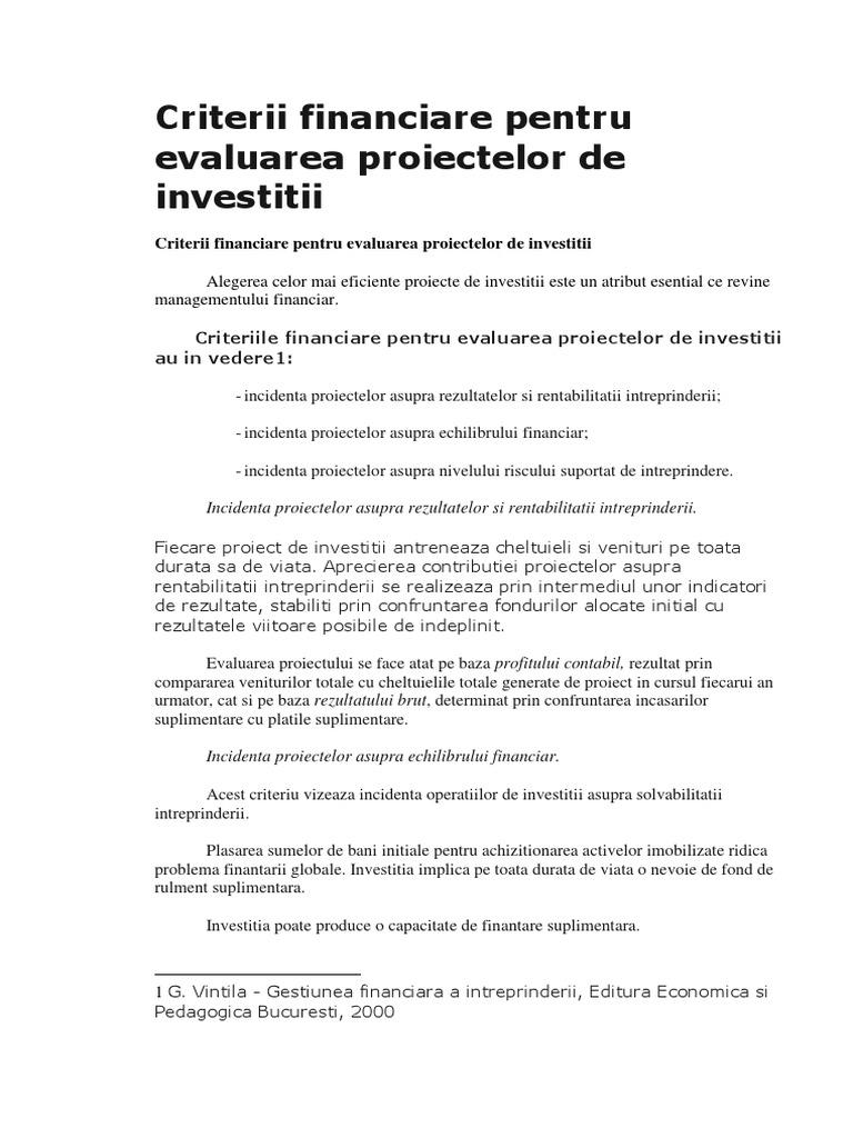 evaluarea proiectelor de investiții pe internet