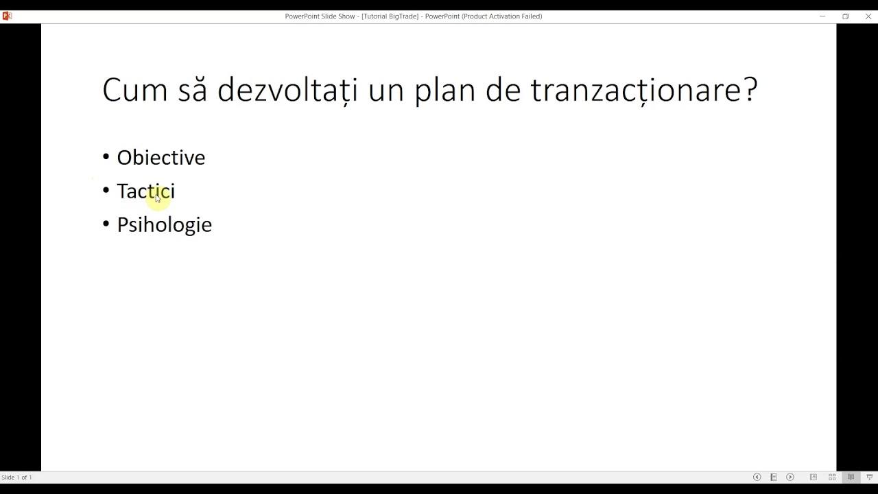 dezvoltarea unui plan de tranzacționare în tranzacționare