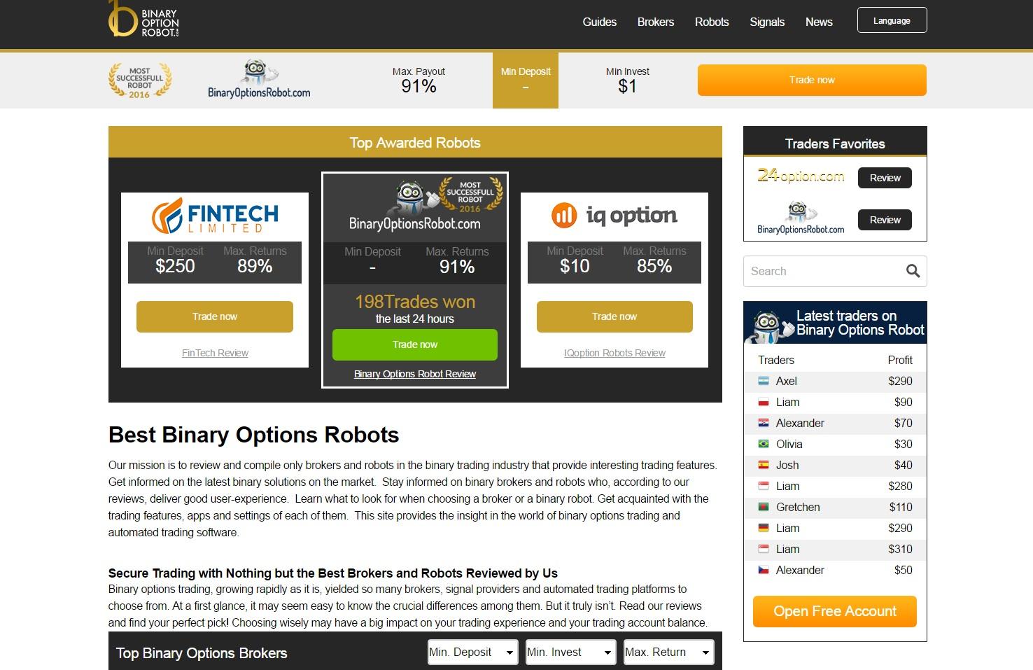 recenzii despre robotul cu opțiuni binare câștigurile pe internet acasă 2 746