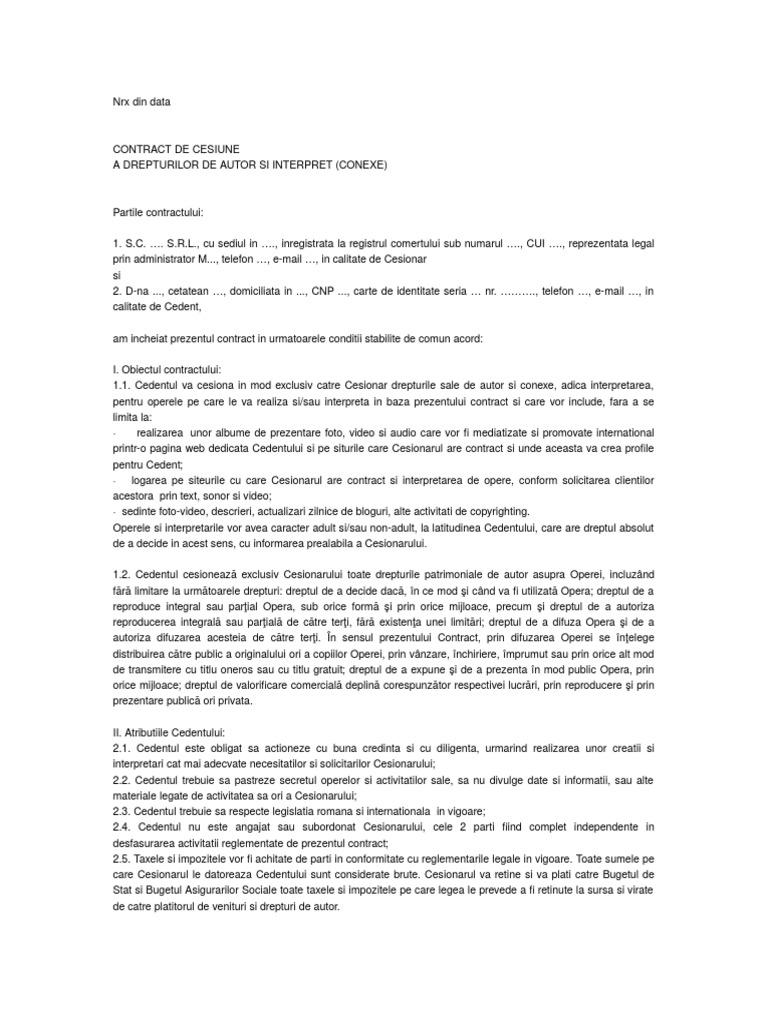 Cesiunea contractului în Noul Cod Civil
